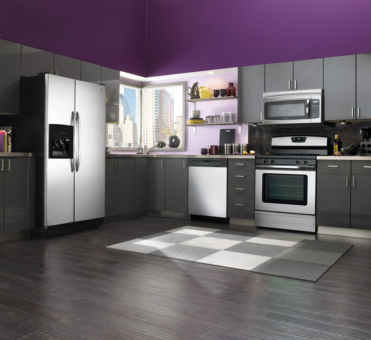 Kitchen design with wood floors purple wall with for How to set up kitchen cabinets