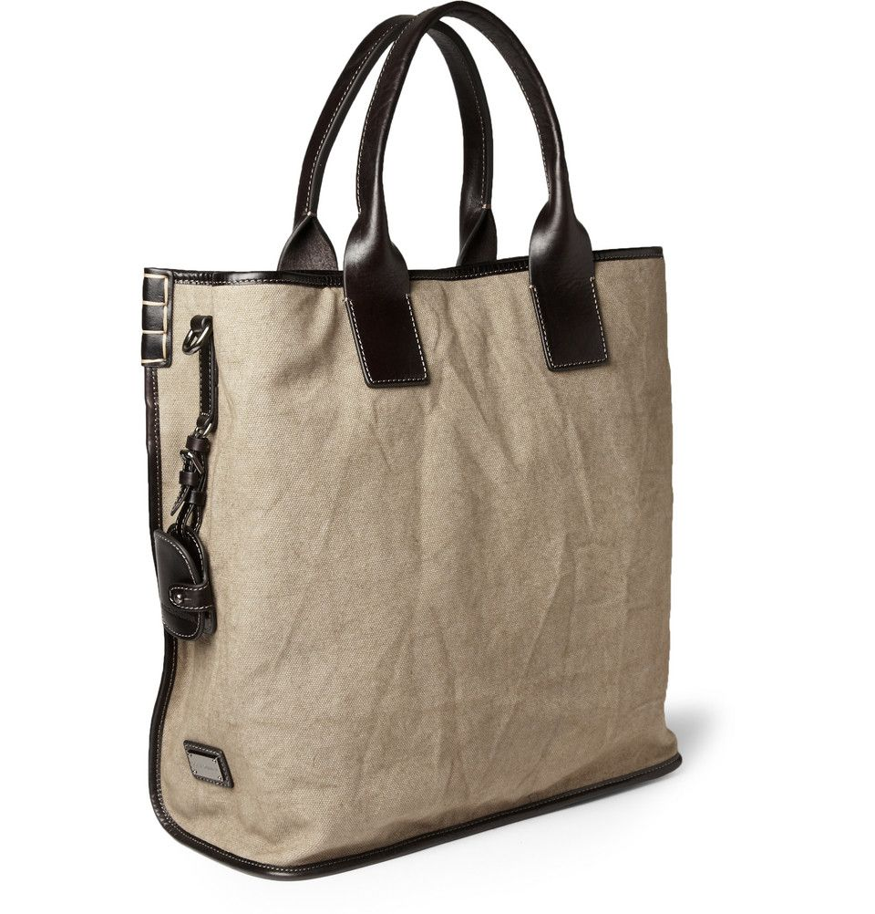 Dolce & Gabbana Men's Leather-Trimmed Canvas Tote Bag | Men's bags ...