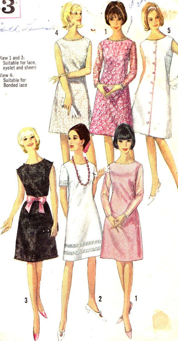 1960s Dress Pattern Simplicity 5935 Mod A Line Dress Round Neckline ...