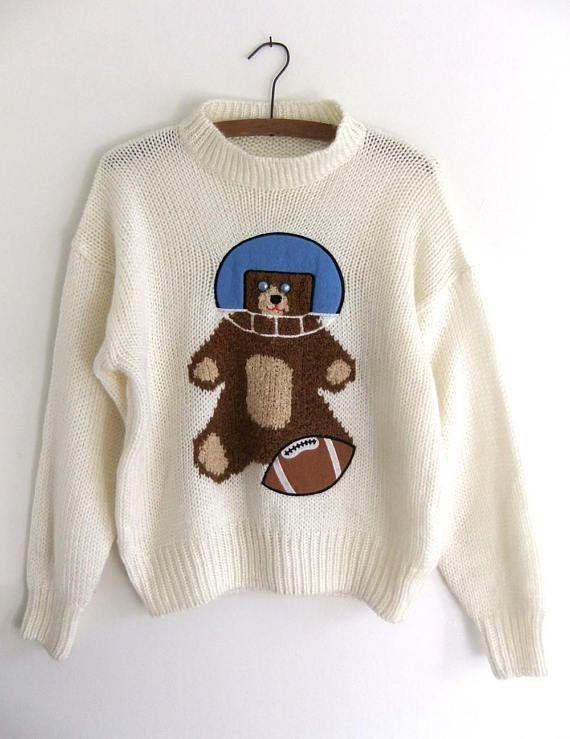 e78a3e07c40 Teddy Bear Football Intarsia Knit Sweater - Mock Turtleneck Slouchy ...