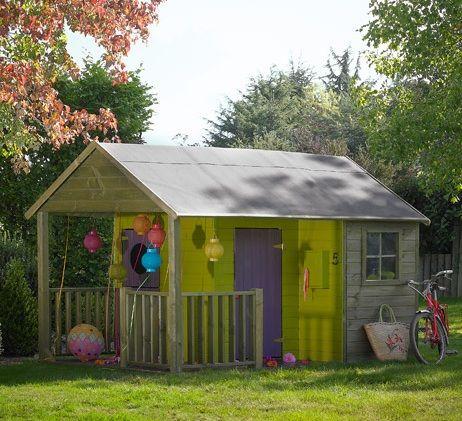 Chalet Cabane Enfants en Bois CABANES/PETITES MAISONS Pinterest - Maisonnette En Bois Avec Bac A Sable