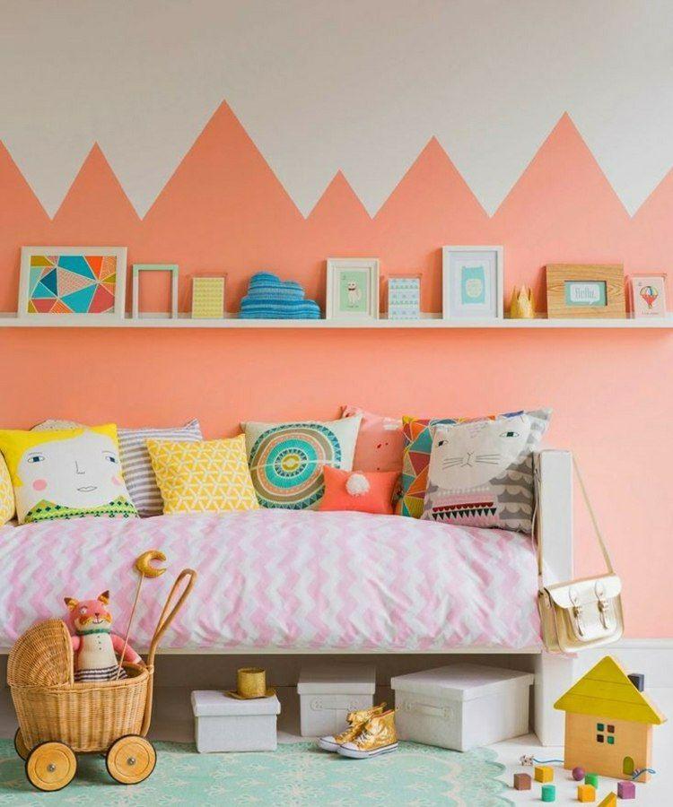 Orange pastel pour les murs en 35 id es couper les souffle int rieur pastel dans la for Decoration chambre camaieu orange