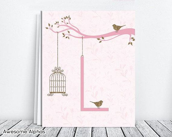 Nursery Art Digital Download. Letter L. Pink Baby by AwesomeAlphas, $5.00
