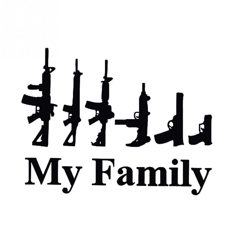 My Family Shape Gun Funny Car Window Decor Vinyl Decal - Military window decals for cars