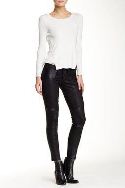 River Leather Moto Paneled Coated Skinny Jean