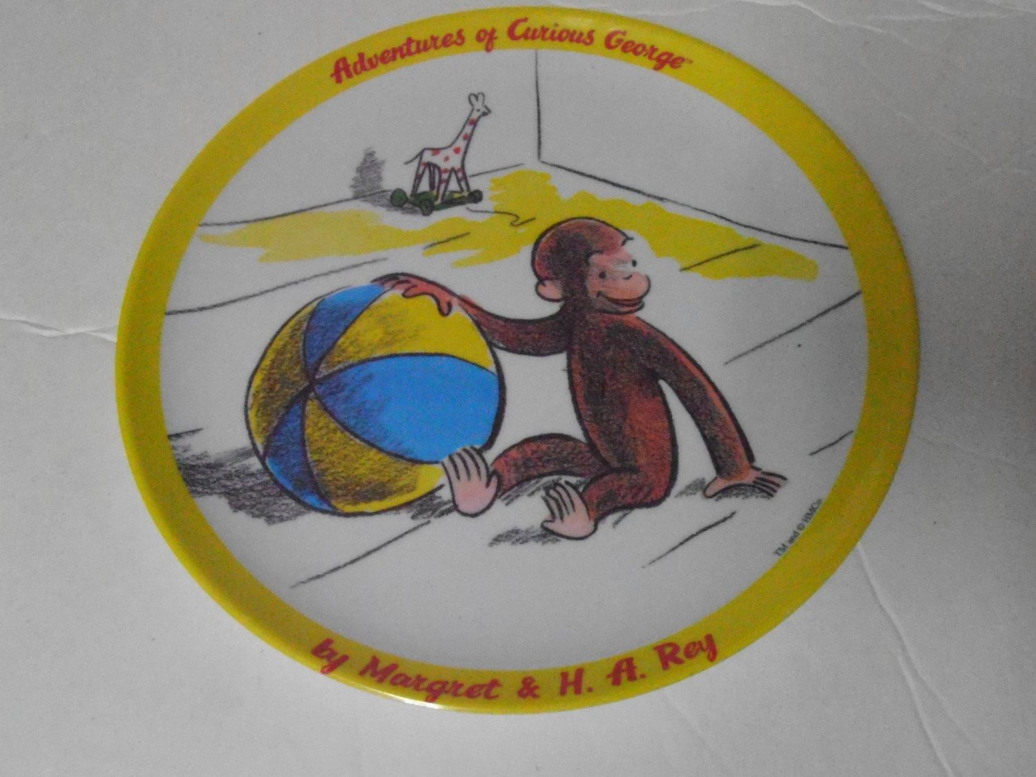 Adventures of Curious George Yellow Ball Toys Plate Plastic Melamine by tjmccarty on Etsy