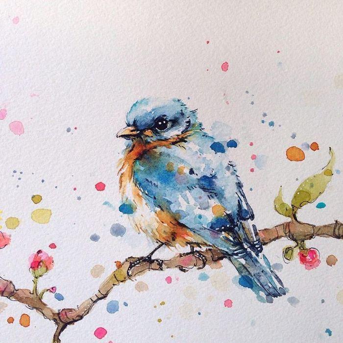 удача птица на ветке рисунок красками словам главы