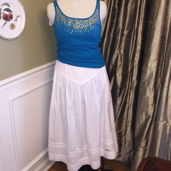 French Connection, Size L 100% cotton, back zipper, scalloped and embroidered flower on left side bottom of dress. French Connection Skirts Maxi