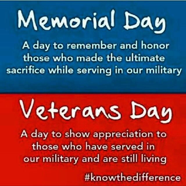 Theres a difference between Memorial Day And Veterans Day ...