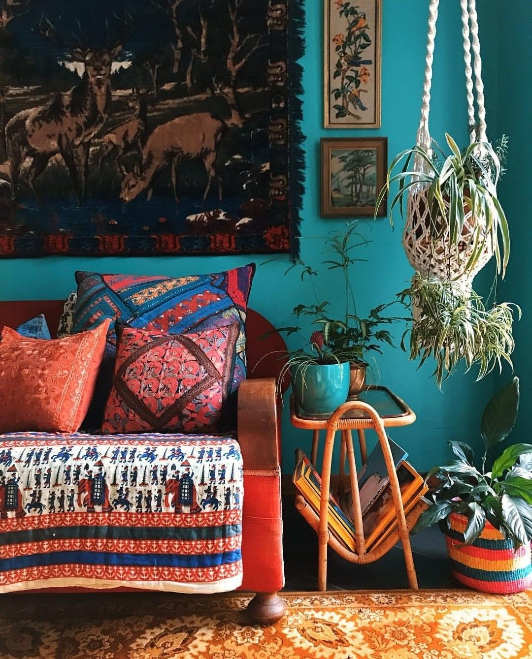 Turquoise Blue Walls Bohemian Living Room Decor Hippie Home Decor Living Room Turquoise #turquoise #living #room #walls