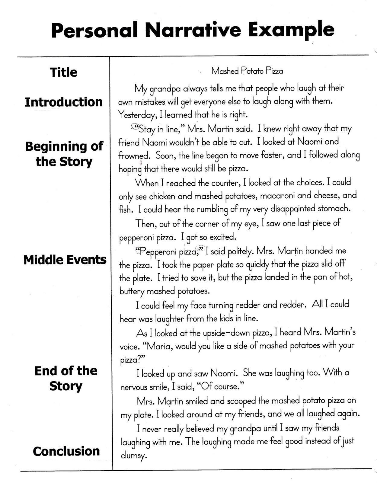 Personal Narrative Examples 3rd Grade