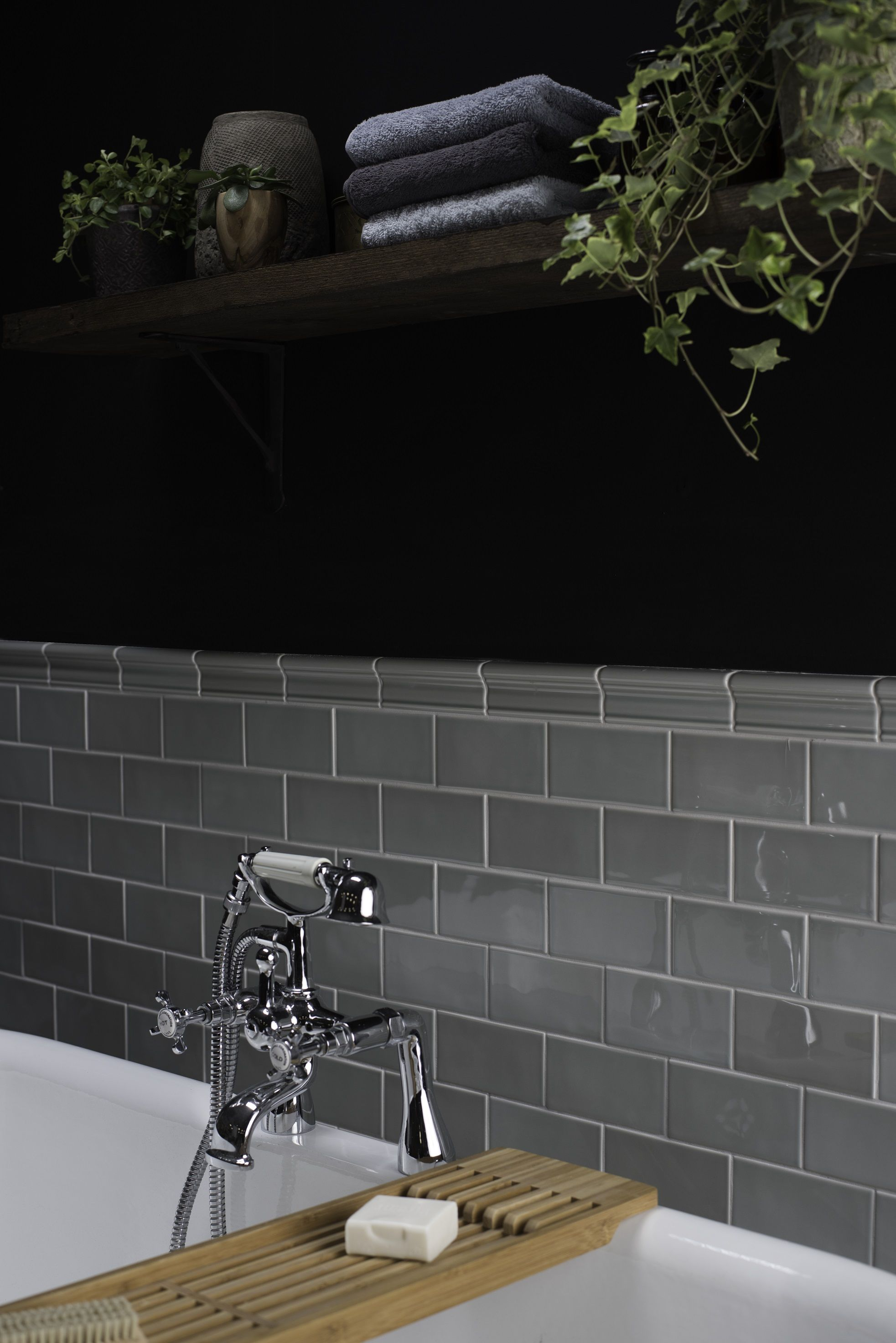 Sleek Modern Dark Bathroom With Glossy Tiled Walls: We Absolutely LOVE This Bathroom Setting. The Dark Walls