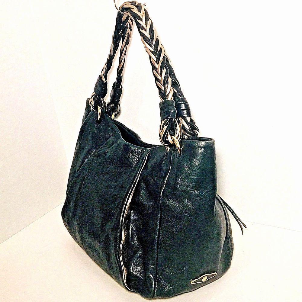 Elliott Lucca Black Silver Shoulder Bag Hobo Satchel Leather Braided  Handles  3e40547162266