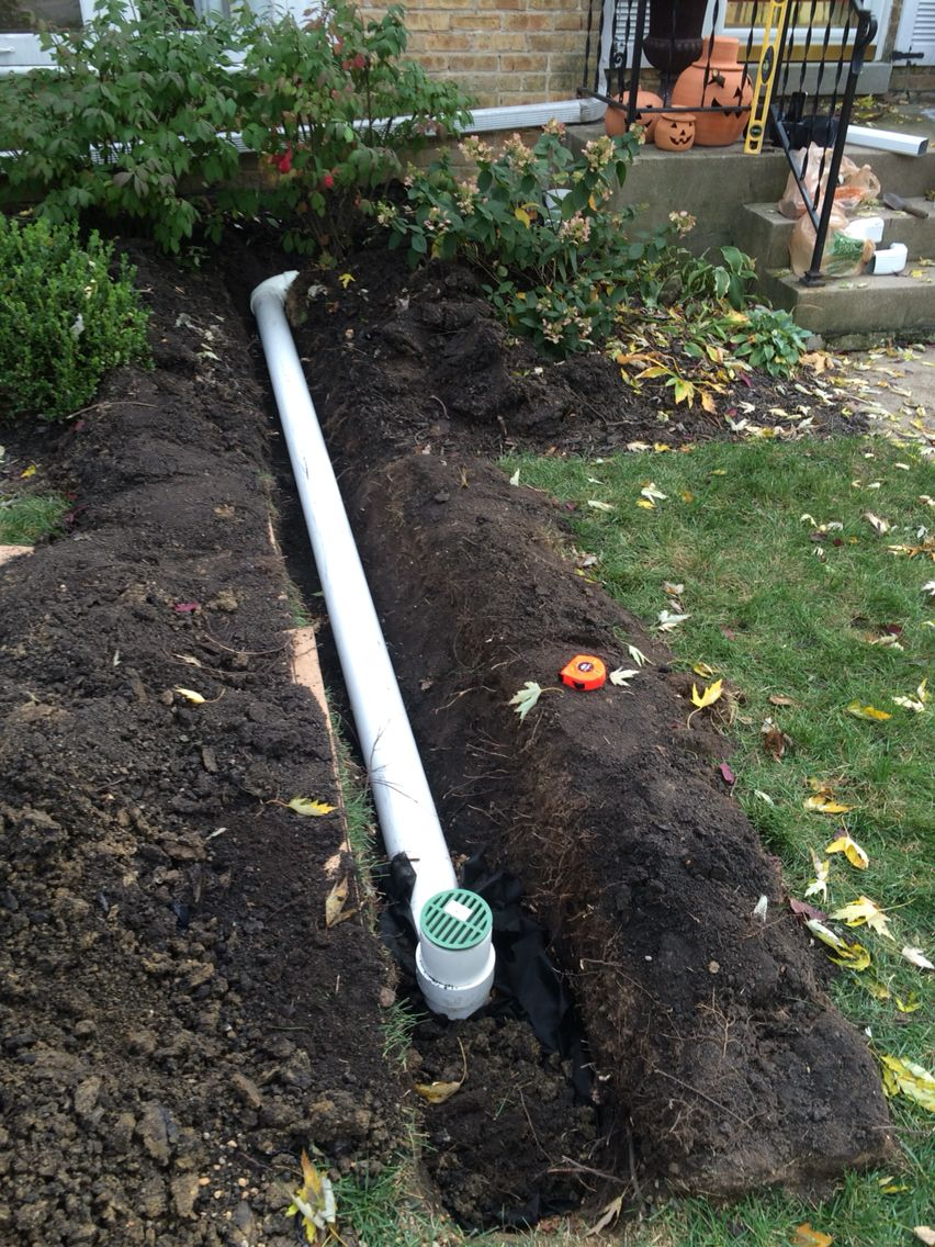 Underground Pvc Downspout With Sani Y At The End And Pea Gravel Pit Pea Gravel Lawn Garden