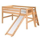 Camaflexi Low Loft Bed With Slide Lateral Ladder And Mission Headboard Low Loft Beds Loft Bed Bed With Slide