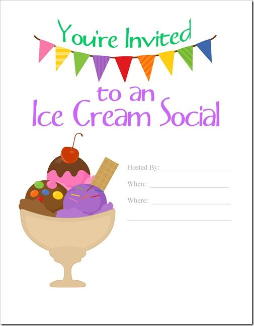 Ice Cream Social Invite Ice Cream Social Invitations Ice Cream Party Invitations Ice Cream Social