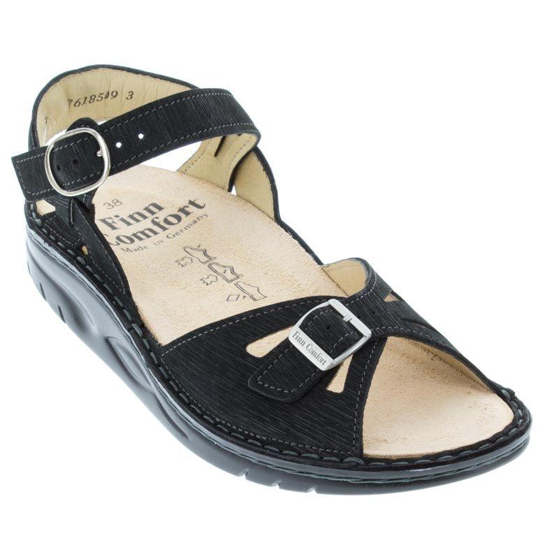 Finn Comfort Motomachi Black Waving Leather Soft Footbed Black Sandals Finn Comfort Leather