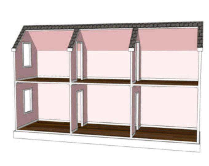 Doll House Plans for American Girl or 18 inch dolls 5 Room NOT ACTUAL HOUSE