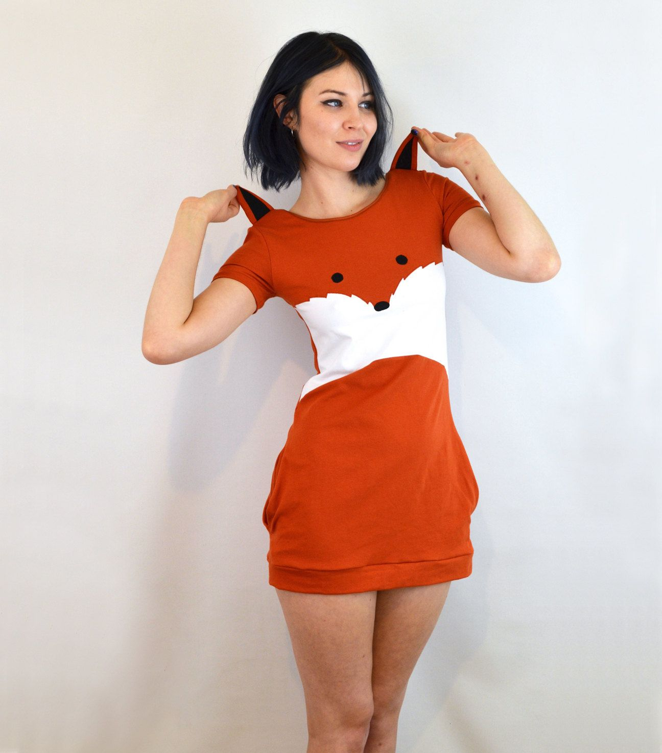 Fox dress with ears cotton jersey jersey jersey dresses and fox face