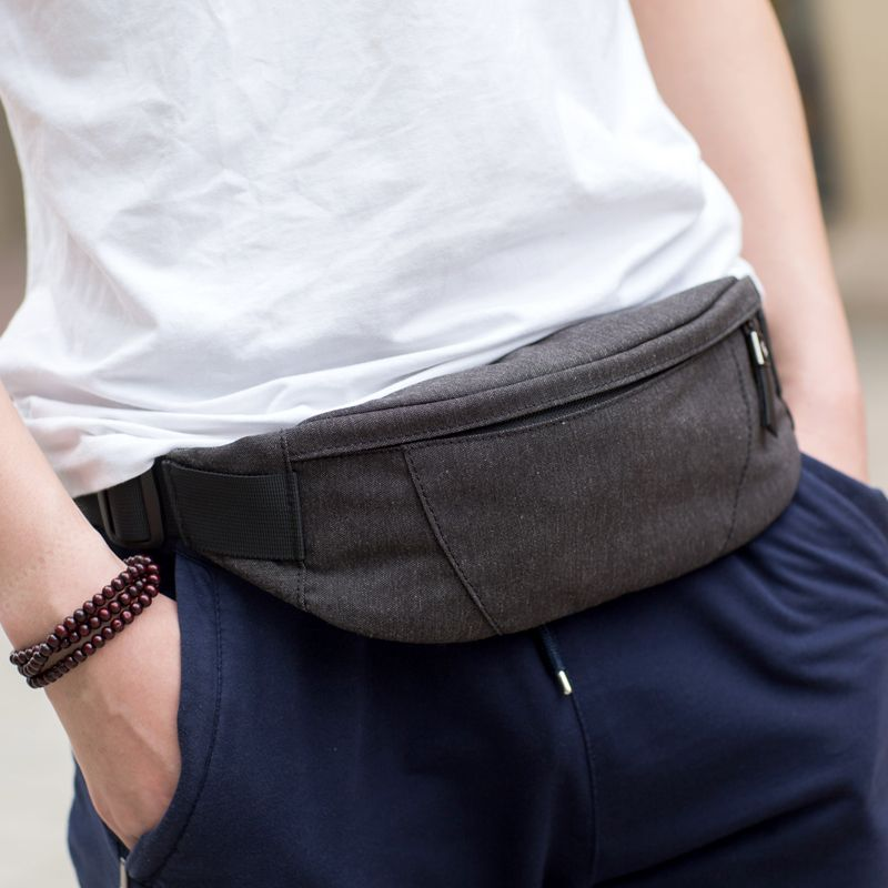 New Black Leather Waist Fanny Pack Travel Belt Bag Hip Travel Pouch 40 Waist