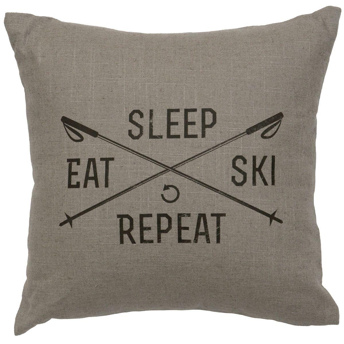 Gray Sleep Eat Ski Repeat Pillow Vintage Ski Decor Ski House Decor Ski Lodge Decor