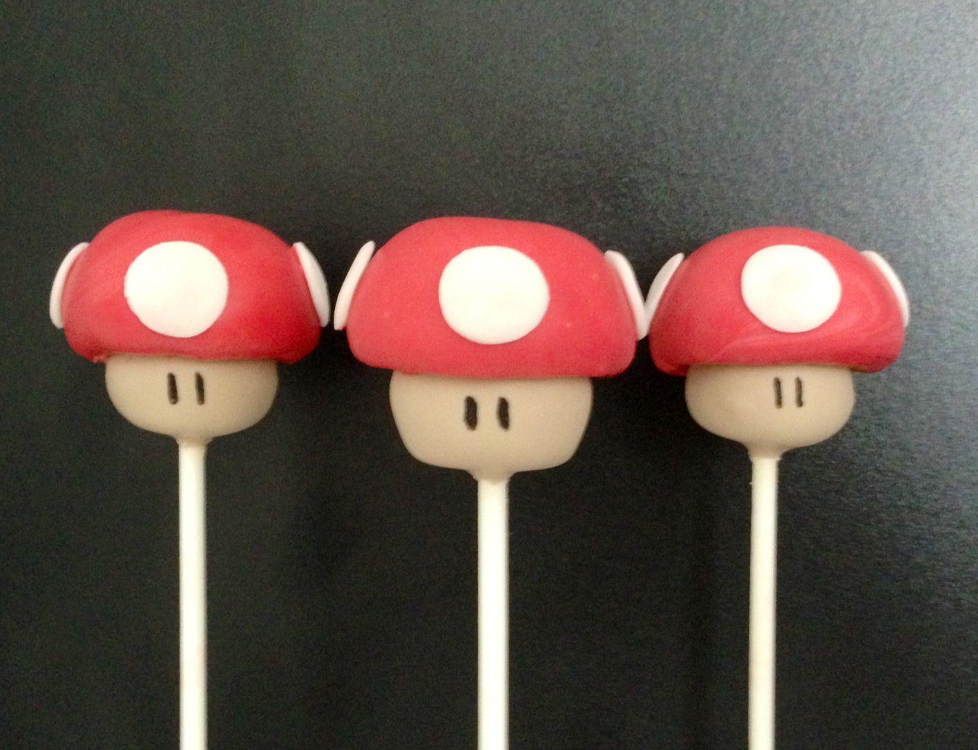 1up Super Mushroom Cake Pops Super Mario Bros Cake Pos