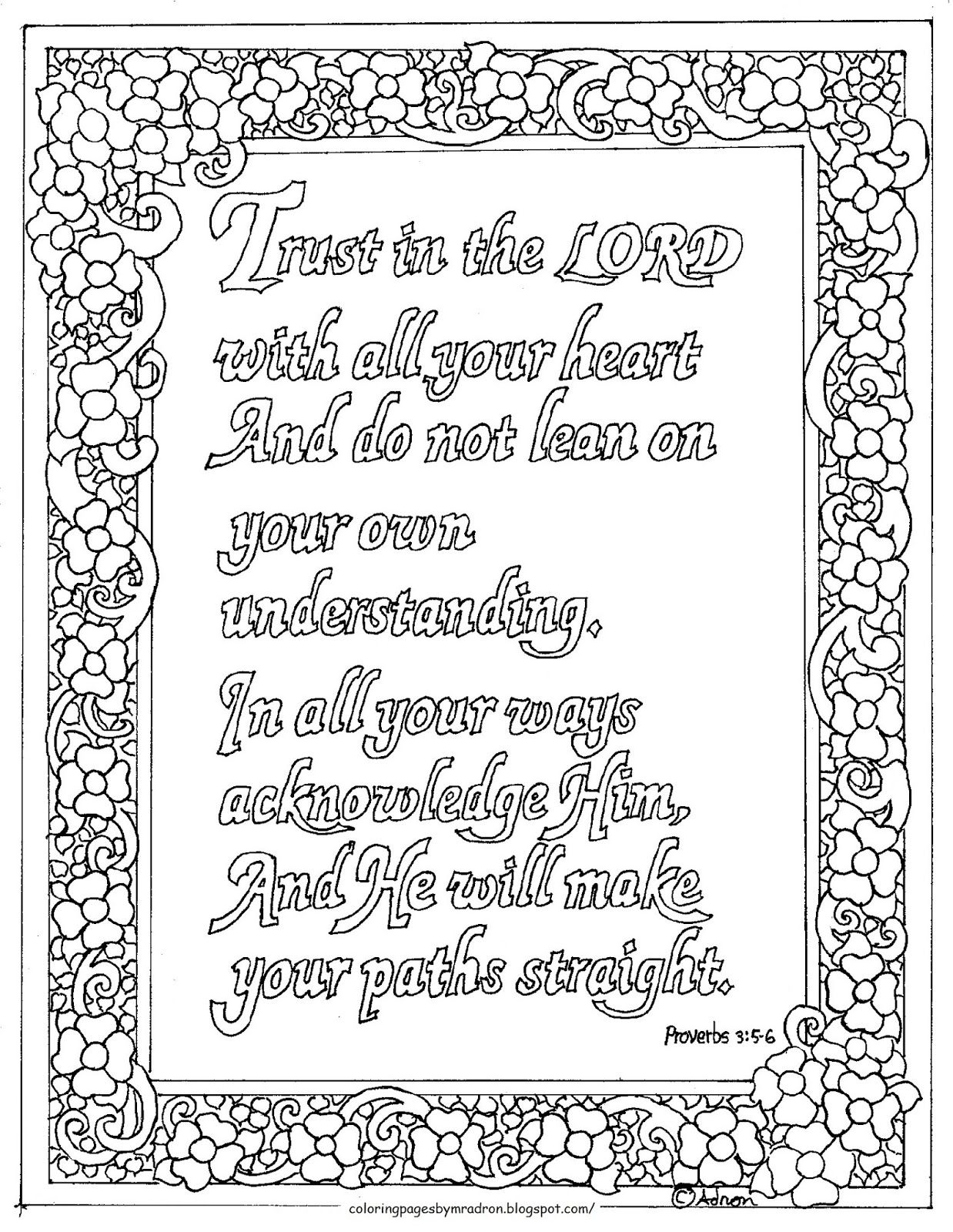 coloring pages for kids by mr adron printable proverbs 3 5 6