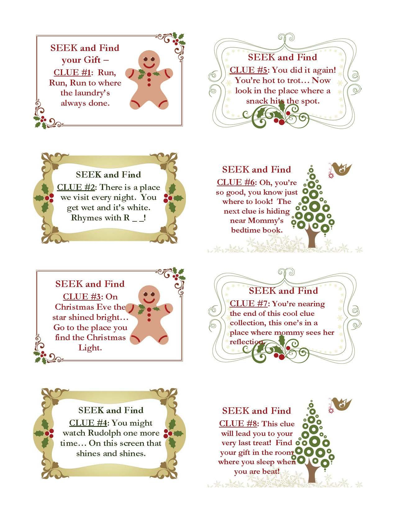 Christmas Scavenger Hunt Clues For The Younger One Some Good For Other Occasions