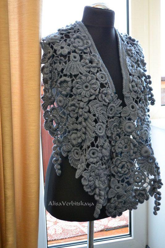 Oversized scarf Lace shawl Knitted shawl Gray shawl Knit scarf ...