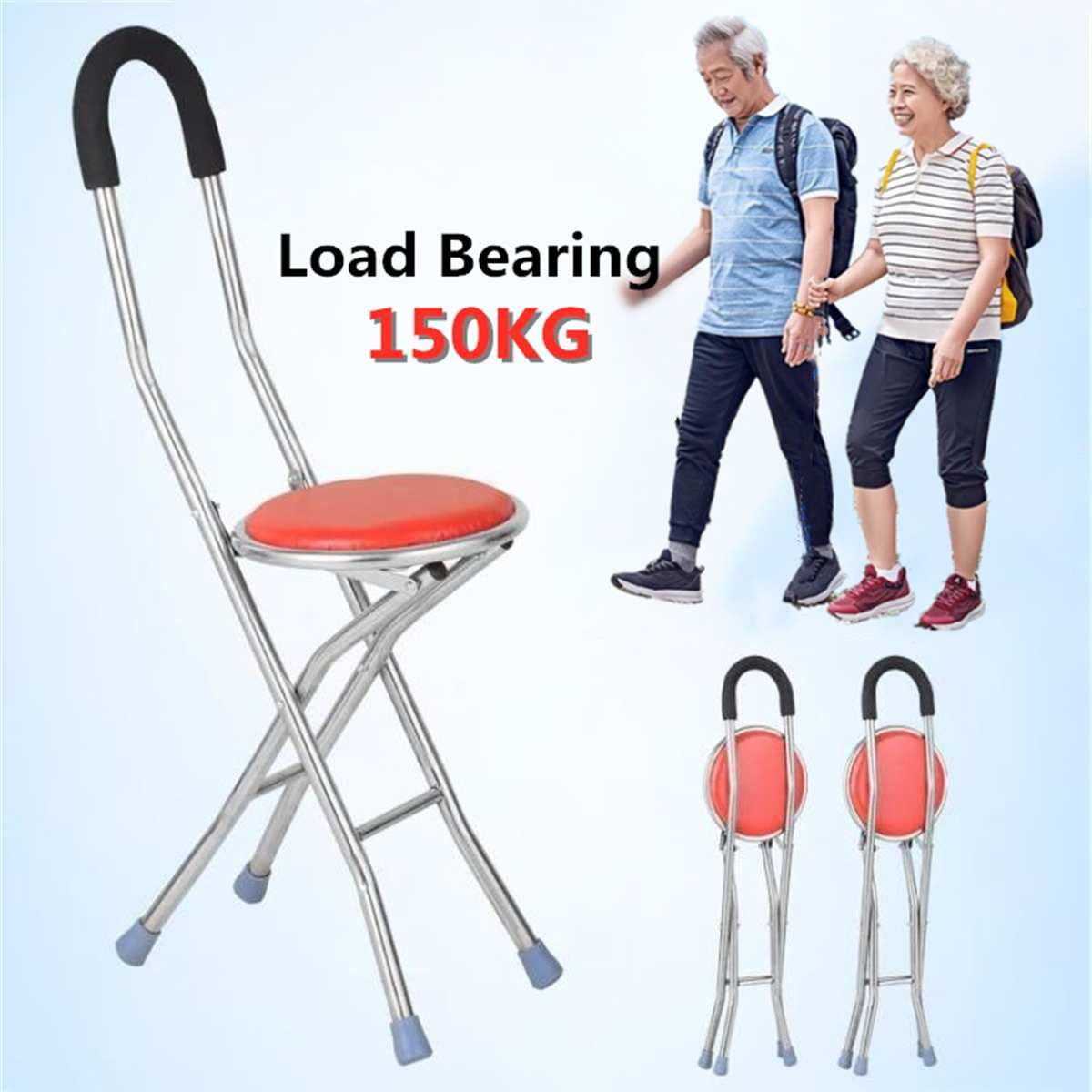 Foldable Elderly Care Walking Cane Stick 2 In 1 Chair Four Legs Up To 150 Kg Adjustable Cane Chair Stool Seat Portable Cr In 2020 Elderly Care Walking Canes Cane Stick