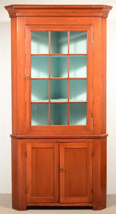 Sold $1,200 Pennsylvania Country Federal Cherry Two Part Corner Cupboard,  Circa. 1830 1850. Cove Molded Cornice, Single 12 Pane Glazed Upper Door,  Above.