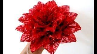 Moños Flores Nochebuena De Navidad En Cintas De Organza Brillante Youtube Flor Navideña Flor De Nochebuena Y Manualidades Navideñas