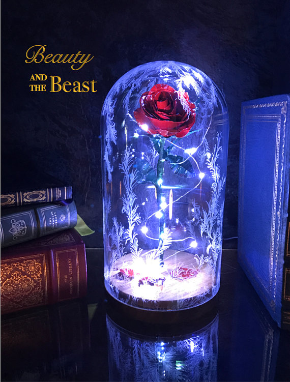 Beauty And The Beast Rose Preserved Metal Disney