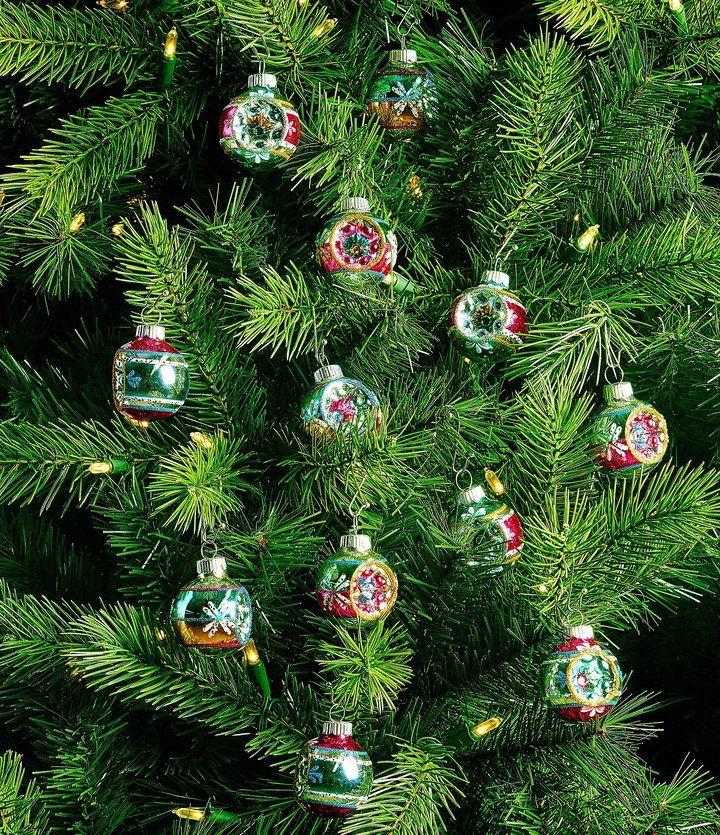 Christopher Radko Shiny Brite Vintage Celebration 12-Piece Reflector Round Ornament Set