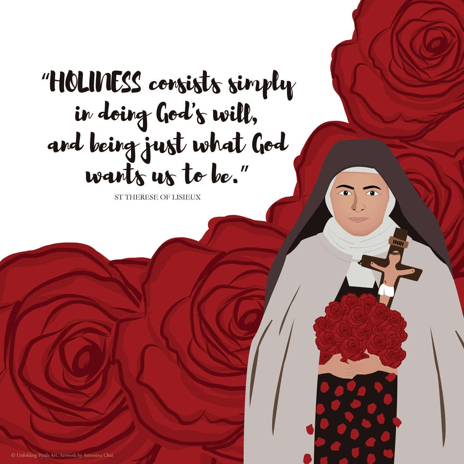 St Therese Of Lisieux On Holiness Catholic Printables Wall Art Prayer Card 33cmx33cm 8x10 A4 A6 Digit St Therese Of Lisieux St Therese Therese Of Lisieux