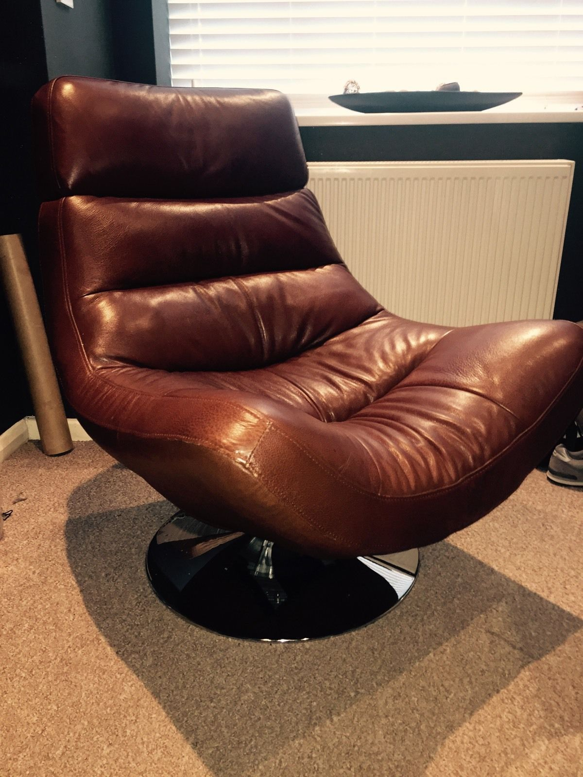 NEW LEATHER SWIVEL RECLINER CHAIR w FOOT STOOL ARMCHAIR