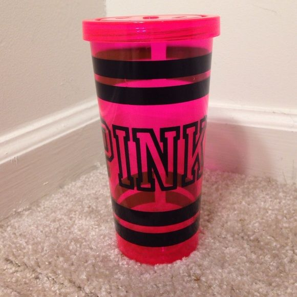 VICTORIAS SECRET PINK TUMBLER Cute Victoria's Secret PINK tumbler. No straw but can be bought. Good condition a few scuffs but still cute! Open to offers. PINK Victoria's Secret Other