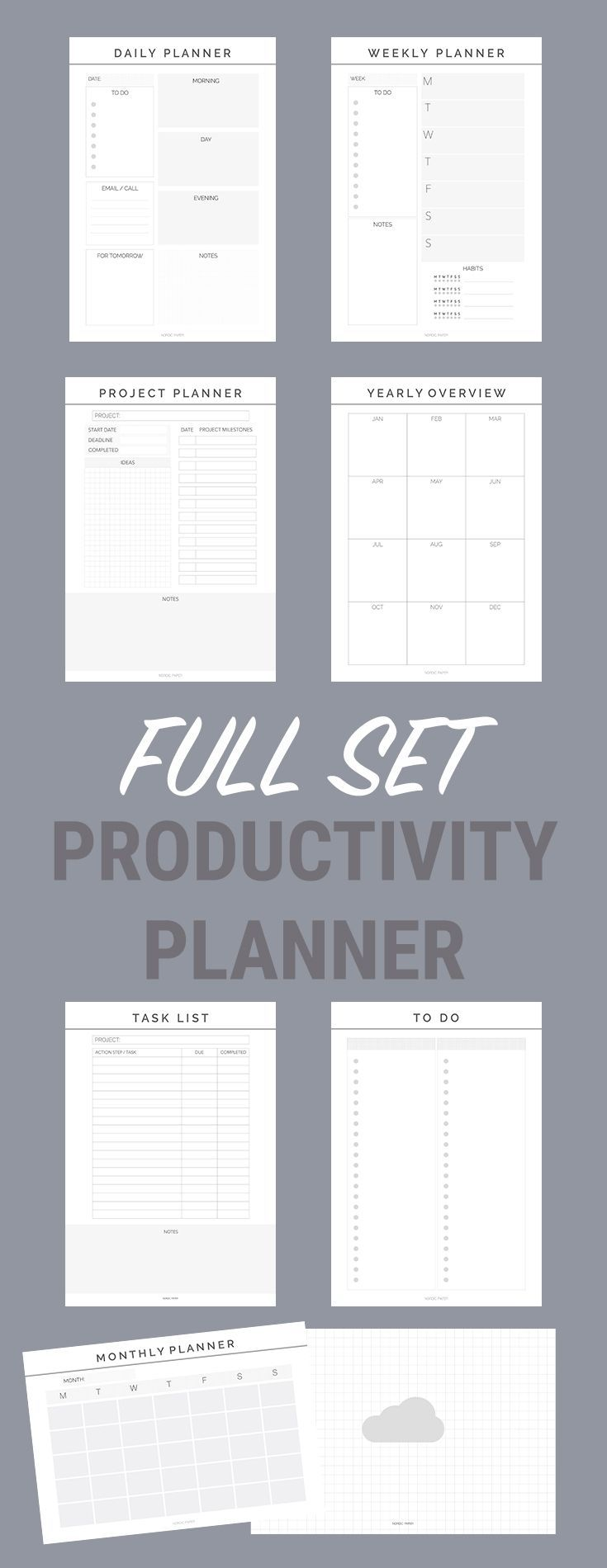 productivity planner printable planners perfect student planners