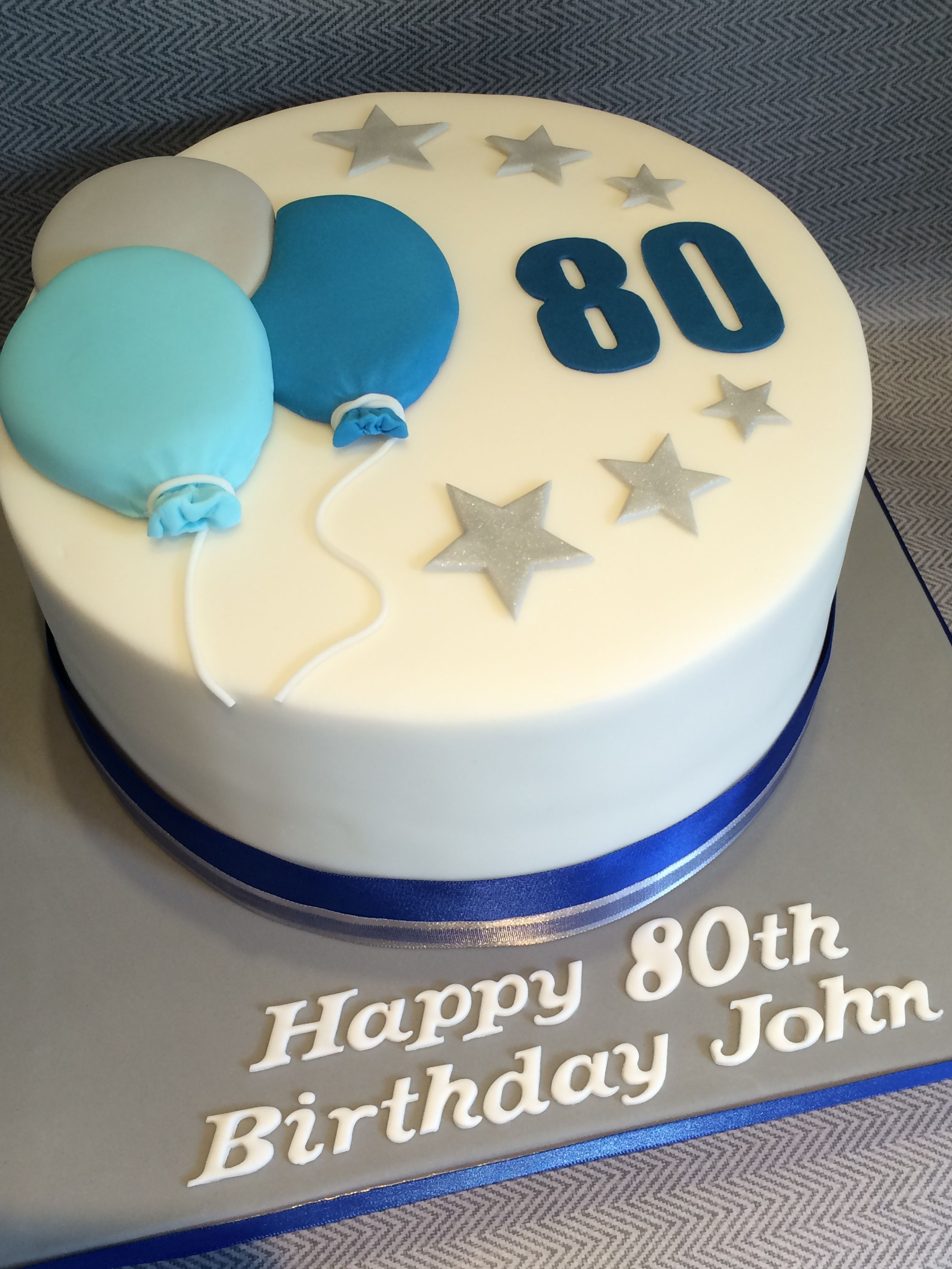 Awe Inspiring Mens 80Th Birthday Cake With Balloons Stars Blue Grey Colours Funny Birthday Cards Online Hendilapandamsfinfo