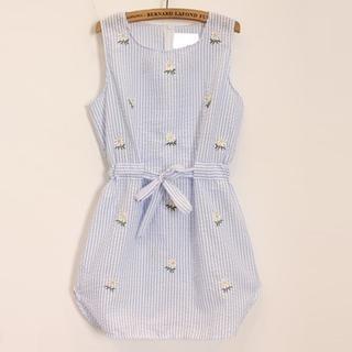Momewear - Sleeveless Embroidered Striped Dress