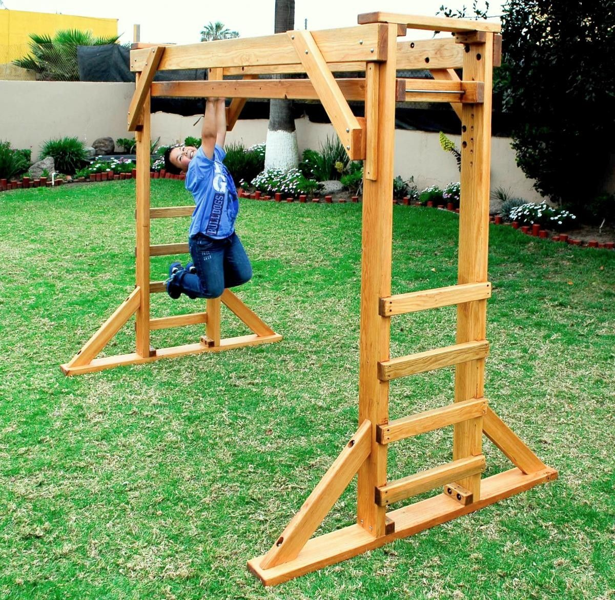 Sheldon S Monkey Bar Set Forever Redwood Diy Monkey Bars
