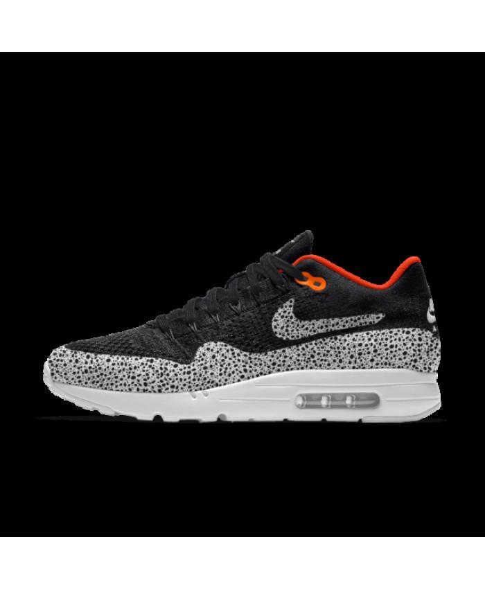 ea348cbec96f6 Nike Air Max 1 Ultra Flyknit iD Black Grey Orange Men s Shoes   Trainers