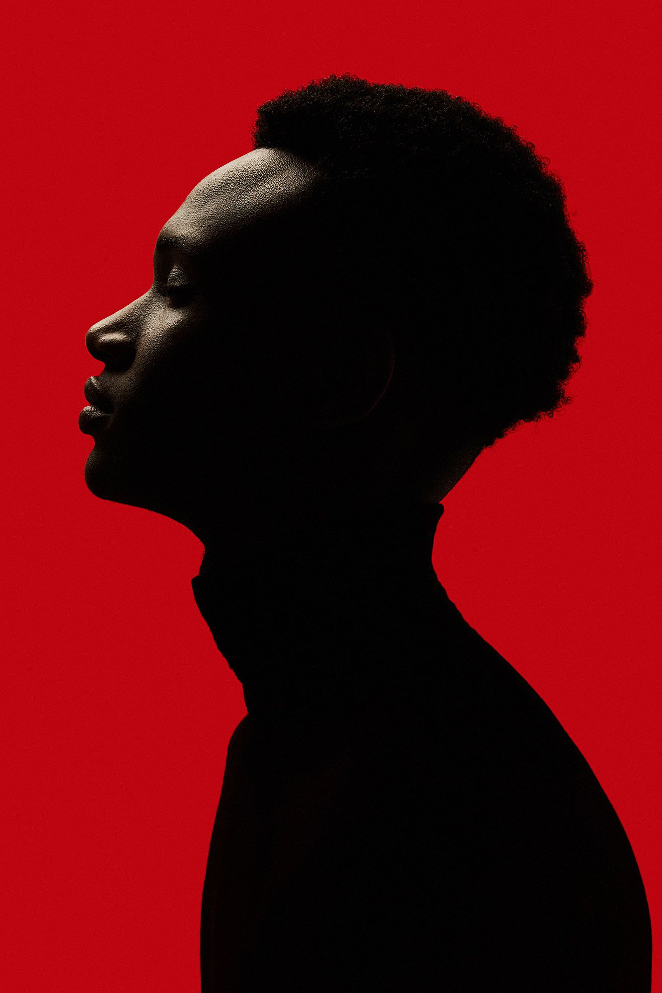 African american man portrait silhouette isolated over red background black red creative studio portrait