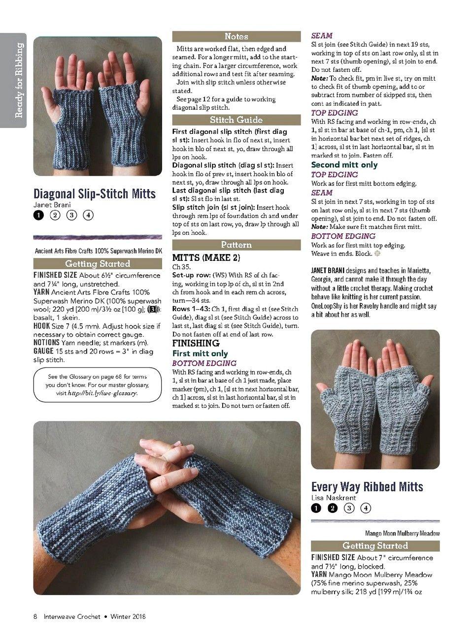 Interweave Crochet — Winter 2018-ng Fingerless gloves, mitts | H|H|C ...