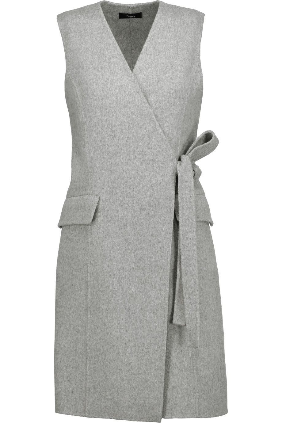 Shop on-sale Theory Livwilth wrap-effect wool and cashmere-blend dress.