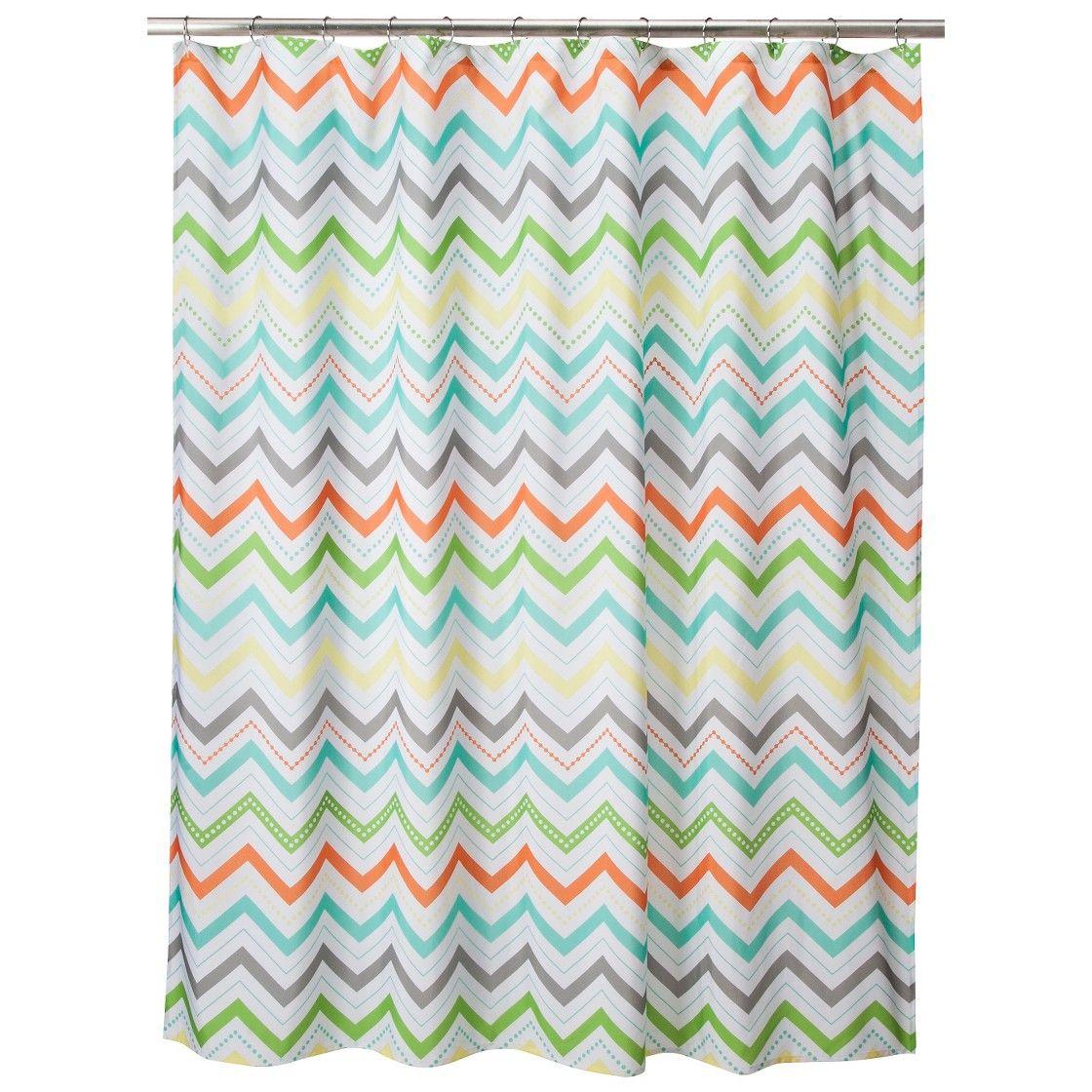 Circo Chevron Shower Curtain - Orange - boys bathroom with light ...