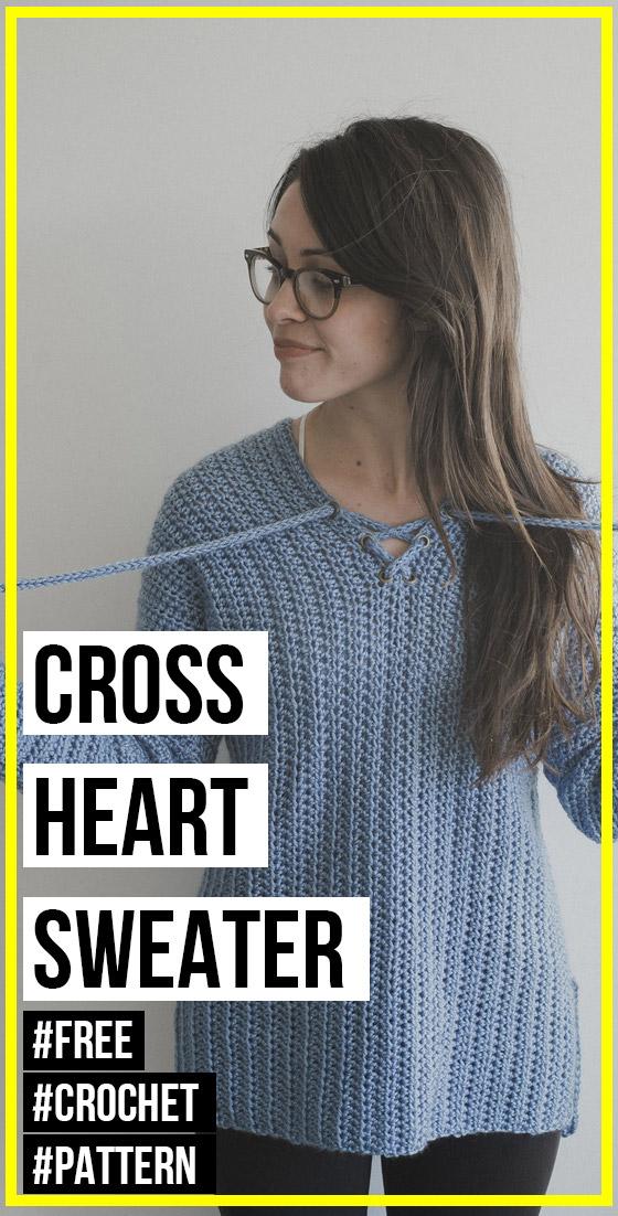 Photo of crochet Cross My Heart Sweater free pattern