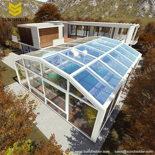 Swimming Pool Enclosures Sunshield Glass Pool Dome Greenhouse Glass Pool Swimming Pool Enclosures Pool Enclosures