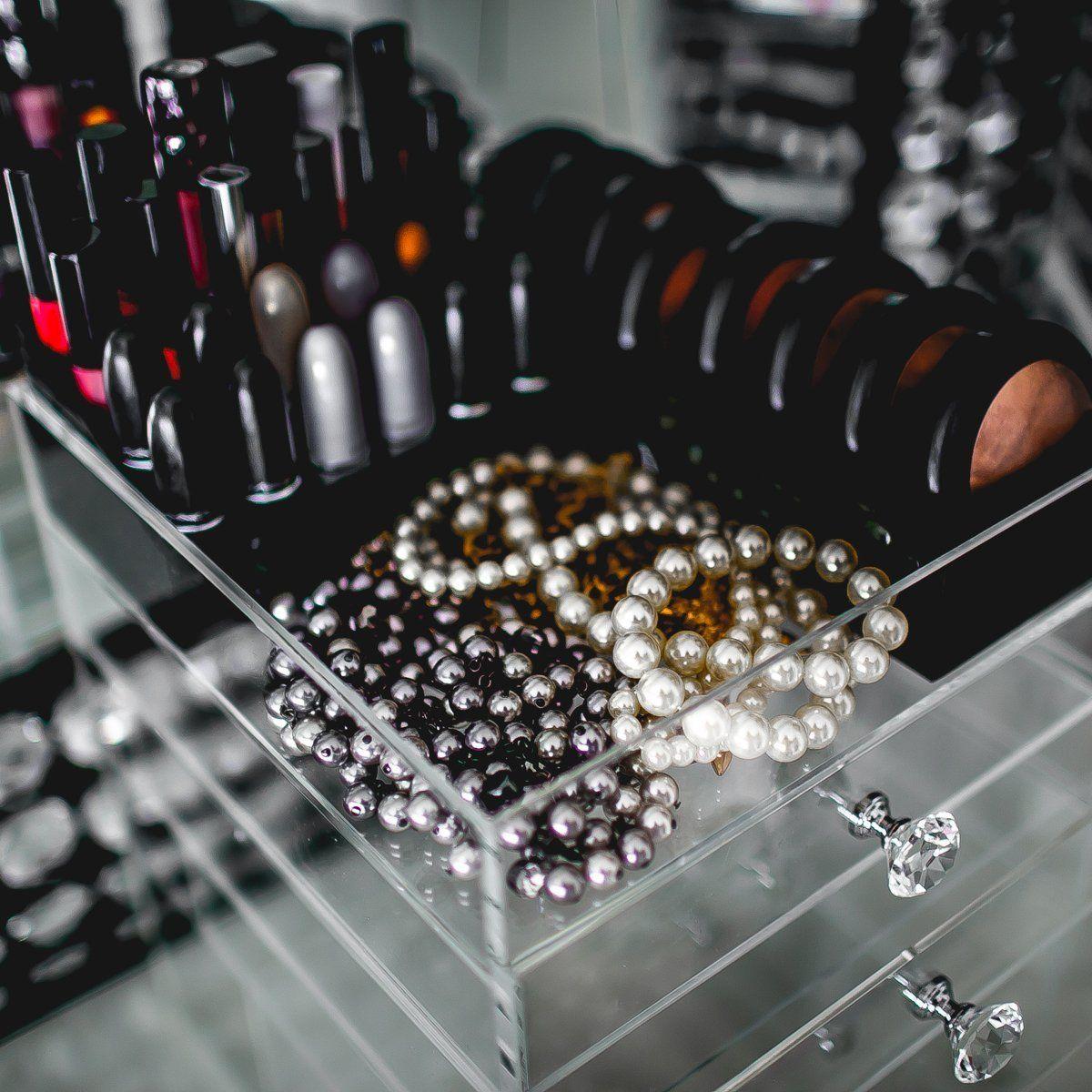 N2 Makeup Co Acrilic Cubo Trucchi, Grossi Cassetti per Vanity (4 Drawer): Amazon.it: Casa e cucina