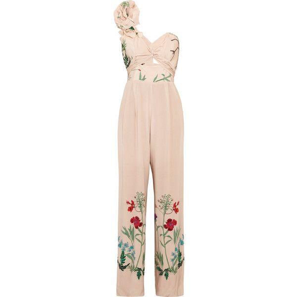 ba476eec9743 Johanna Ortiz Marmara one-shoulder ruffled printed silk jumpsuit ...